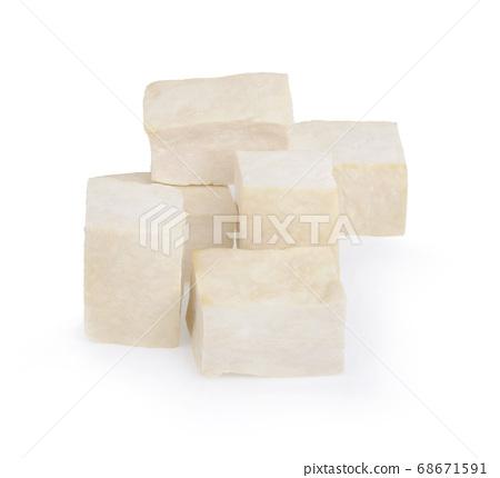 closeup tofu isolated on white background 68671591