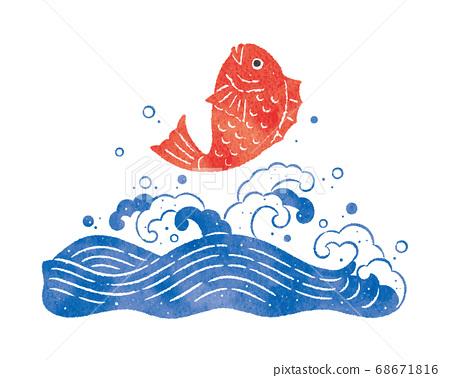 洶湧的海浪和鯛魚 68671816