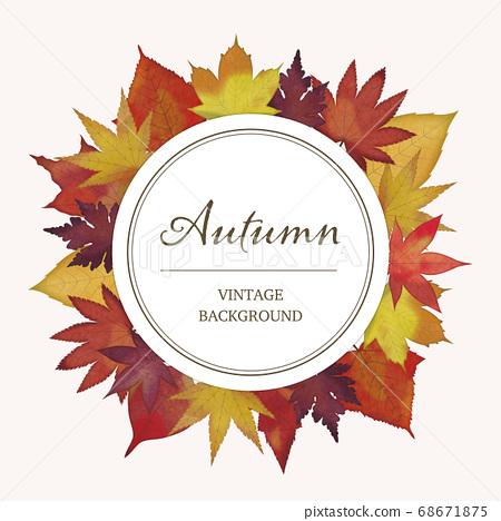 紅色秋天的樹葉的圓形矢量框架 68671875