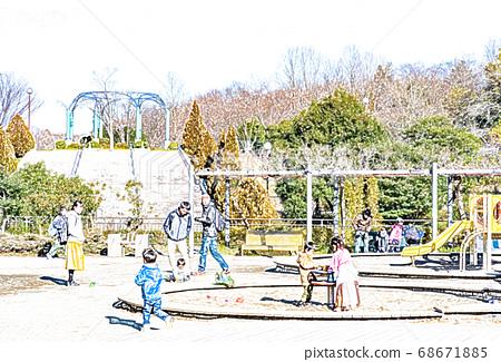 假日公園,到處都是家庭[彩色鉛筆] 68671885