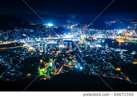 Night view of Nagasaki Port as seen from Nagasaki Inasayama Observatory 68672308
