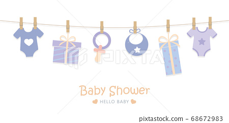 baby shower welcome greeting card for childbirth with hanging utensils 68672983