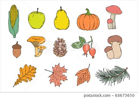 Set of autumn items 68673650