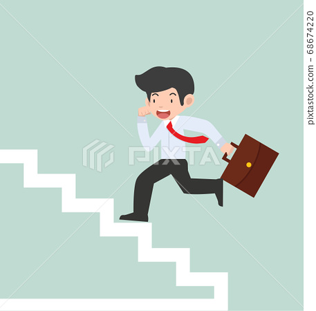 businessman Running Up Stairs Concept 68674220