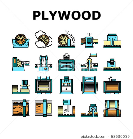 Plywood Production Collection Icons Set Vector 68680059