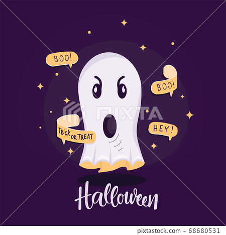 Ghost illustration with text bubble, message, handwritten sign Halloween. Vector stock illustartion for Halloween decoretion, create print card, invitation, poster, banner. 68680531