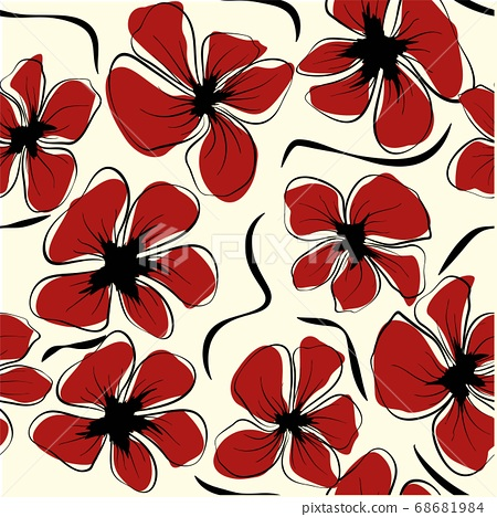Poppies for textile design. Abstract poppies for print design. Botany ornament. Seamless fabric 68681984