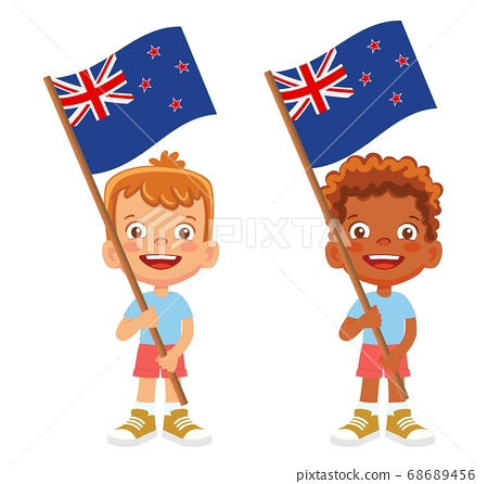 New Zealand flag in hand set 68689456