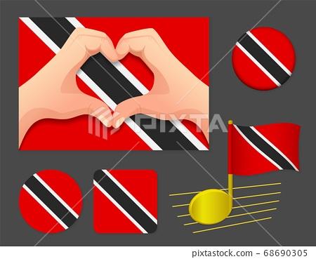 Trinidad and Tobago flag icon. 68690305