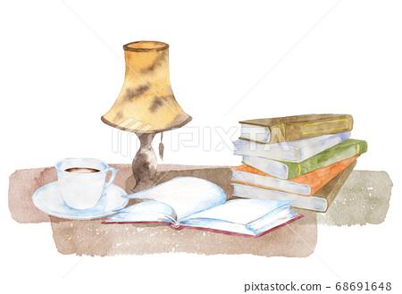 書,咖啡和燈的水彩 68691648