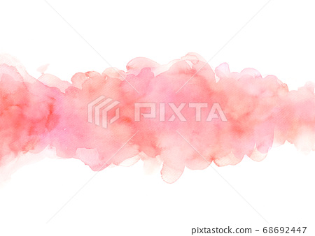Hand painted abstract orange and pink watercolor on white background. 68692447