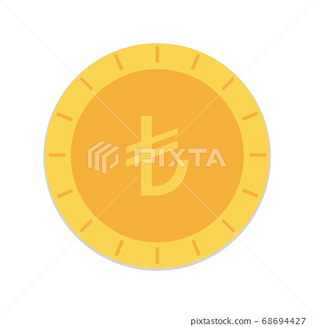 Turkish lira coin vector design isolated on white background. 68694427