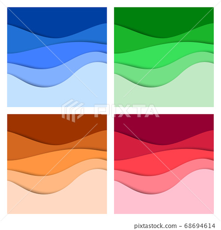 Set of 3D abstract background and paper cut shapes, vector illustration 68694614