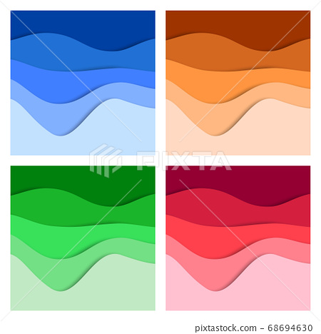 Set of 3D abstract background and paper cut shapes, vector illustration 68694630