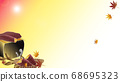 Illustration of autumn leaves and baked potatoes and seven wheels Virtual background material 68695323