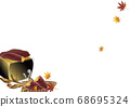 Autumn leaves and baked potatoes and seven rings illustration background material 68695324