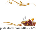 Autumn leaves and baked potato frame background material 68695325