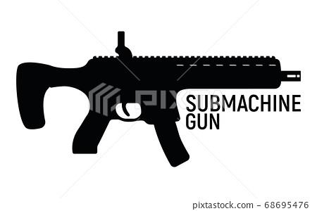 Submachine silhouette military gun, icon self 68695476