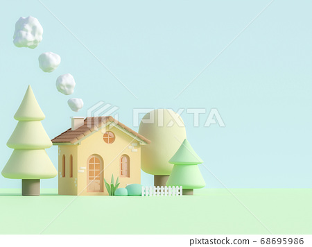 Cartoon style small house in pastel color 3d render 68695986