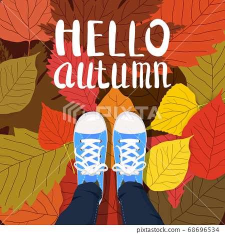 Hello autumn color illustration. Person feet standing in sneakers on yellow, red, green fallen leaves. Hand drawn lettering. Early fall postcard. Walk in park. Autumn time vector cartoon banner 68696534