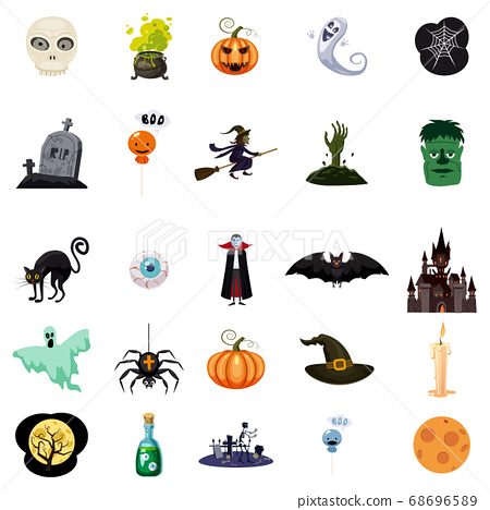 Set of Halloween related objects and characters. Set of halloween icons for your design. Cartoon design. Halloween symbols. Vector isolated 68696589