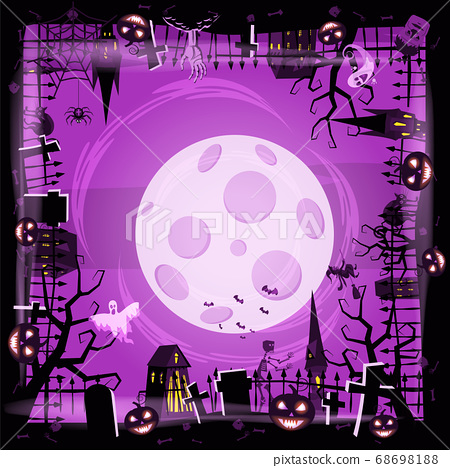 Template Halloween holiday pumpkin, cemetery, black abandoned castle, attributes of the holiday of All Saints, ghost, spider, black cat, a witch on a broomstick, a gloomy autumn forest, panorama, the 68698188
