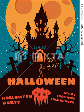 Halloween background with semetery and sceleton, haunted castle, house and full moon. Poster, flyer or invitation template for Halloween party. Retro, vector illustration. 68698214