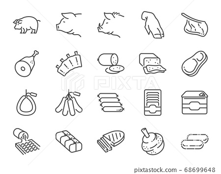 Pork line icon set. Included the icons as pig, ham, sausage, food, ingredient, meat products  and more. 68699648