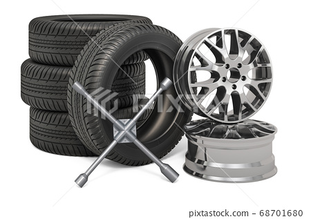 Tire Fitting service concept. Car wheels and rims 68701680