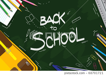 Green board hand drawn back to school background. 68701721