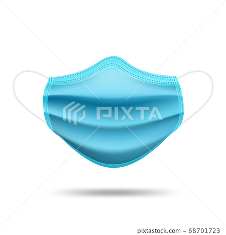 Realistic medical mask isolated on white background. Blue medical face mask. 68701723