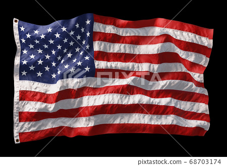 American flag waving in the wind isolated on black background. 3D 68703174