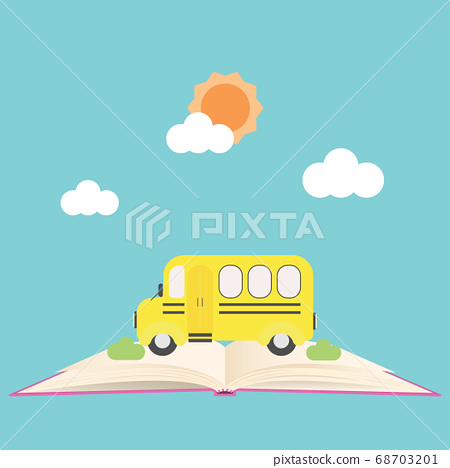 Back to school banner with school bus on open 68703201