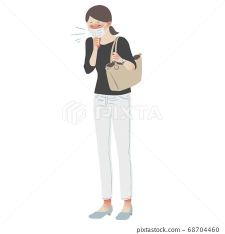 마스크를하고 기침을하는 여성의 전신 일러스트 68704460