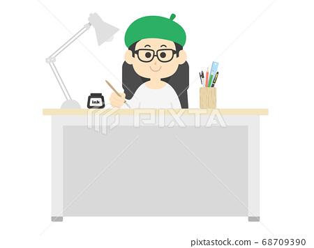 戴著貝雷帽的男性卡通房子的插圖 68709390