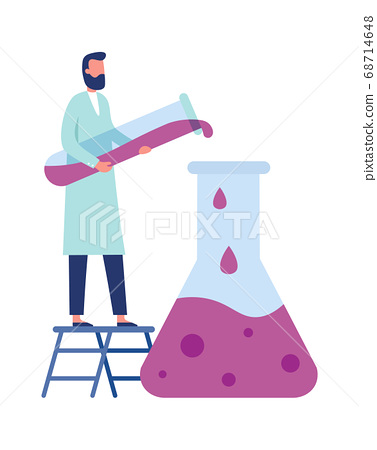 Chemistry laboratory worker. Man in white coat doing clinical science experiments with equipment as tube, flask 68714648