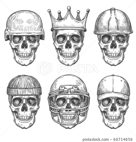 Skull in hats. Dead head characters with crown, baseball cap and helmets monochrome drawing art print for shirt design or tattoo vector set 68714656