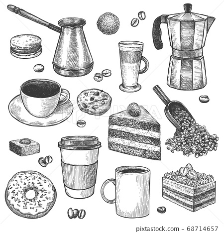 Coffee and desserts. Sketch coffee pot and maker. Cups, cake and cookies, muffins, donut. Pastries, sweet breakfast vintage vector set 68714657