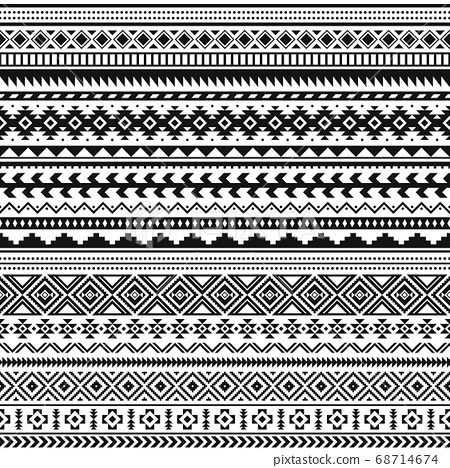 Tribal indian borders. Black white geometric pattern, seamless ethnic print for textile or tattoo, mexican and aztec vector ornament 68714674