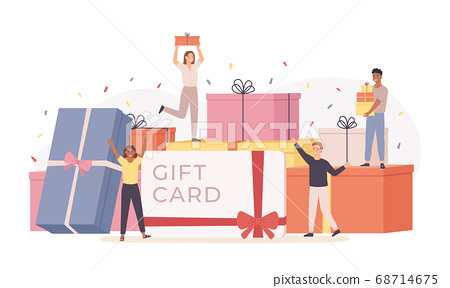 People with gift box. Giant gift boxes and group happy tiny men and women, gift card, discount coupon. Landing page template vector concept 68714675