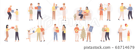 People with gifts. Various characters give and receive gift, romantic surprise, happy persons celebrating holidays, cartoon vector set 68714679