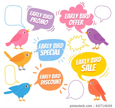 Early birds. Trendy design with bird and speech bubble, special offer sale, promotion market, discount advertising price cartoon vector set 68714689