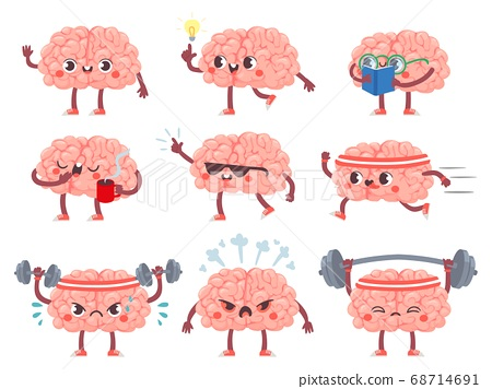 Brain characters. Happy brains in different poses and emotions, mental exercise, education metaphor creative mascot icons cartoon vector set 68714691