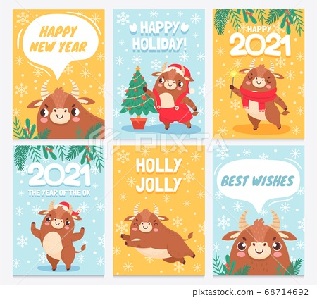 Ox 2021. Happy chinese new year greeting cards, bull with horns prosperity zodiac sign with asian elements eastern horoscope vector set 68714692