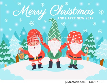 Gnomes christmas characters. Xmas greeting card with cute dwarfs, winter elements and lettering, december holidays vector background 68714696