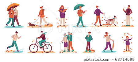 People in autumn. Couple with umbrella in rain, young and old man, woman walk autumn park. Fall season active lifestyle vector set 68714699