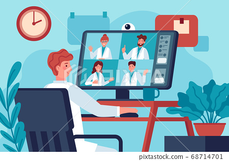 Medical video conference. Doctor in video chat with coworkers online consulting diagnosis covid 19. Virtual medical experts vector concept 68714701