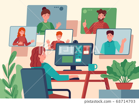 Video conference. Woman at home chatting with friends on computer screen, online communication with coworkers, video chat vector concept 68714703