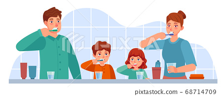 Family brush teeth. Parents and children brushing teeth together in bathroom. Parental parenting oral hygiene, dental care vector concept 68714709