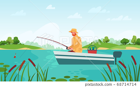 Fisherman fishing. Man in boat with fishing rod waiting nibble fish, relaxation hobby outdoor summer landscape cartoon vector concept 68714714